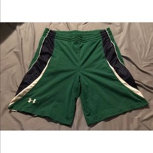 Under Armour Green Navy Blue Athletic Shorts MD